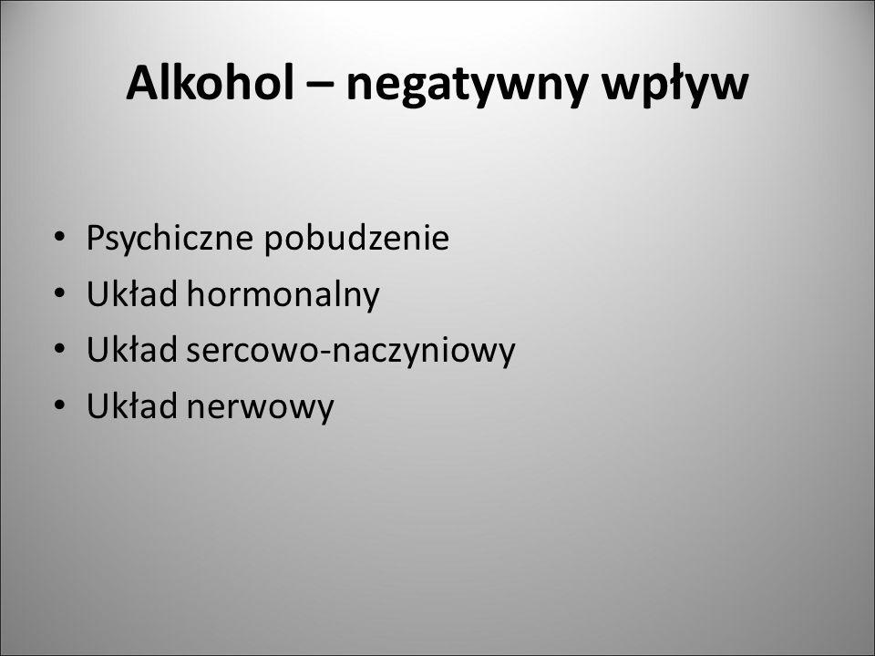 Alkohol – negatywny wpływ Psychiczne pobudzenie Układ hormonalny Układ sercowo-naczyniowy Układ nerwowy