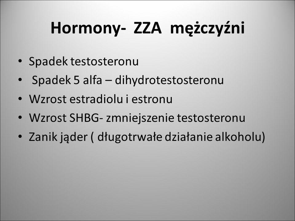 Hormony- ZZA mężczyźni Spadek testosteronu Spadek 5 alfa – dihydrotestosteronu Wzrost estradiolu i estronu Wzrost SHBG- zmniejszenie testosteronu Zani