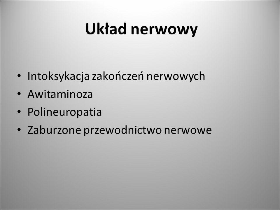 Układ nerwowy Intoksykacja zakończeń nerwowych Awitaminoza Polineuropatia Zaburzone przewodnictwo nerwowe