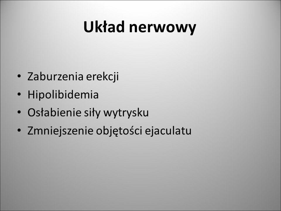Układ nerwowy Zaburzenia erekcji Hipolibidemia Osłabienie siły wytrysku Zmniejszenie objętości ejaculatu