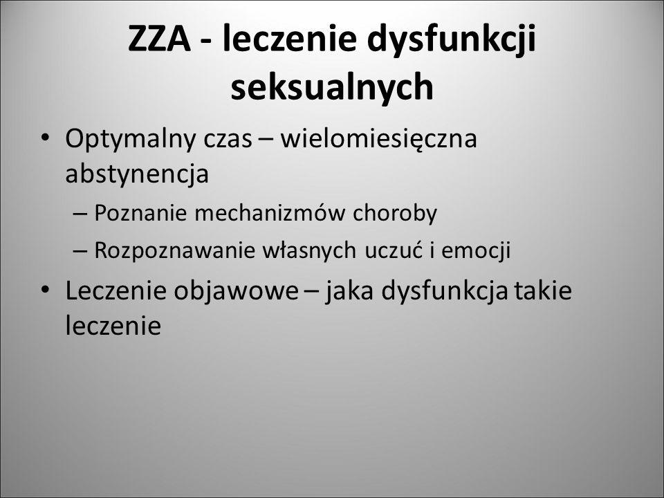 ZZA - leczenie dysfunkcji seksualnych Optymalny czas – wielomiesięczna abstynencja – Poznanie mechanizmów choroby – Rozpoznawanie własnych uczuć i emo