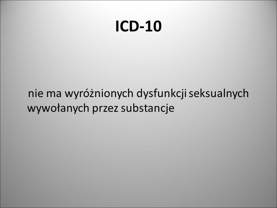 ICD-10 nie ma wyróżnionych dysfunkcji seksualnych wywołanych przez substancje