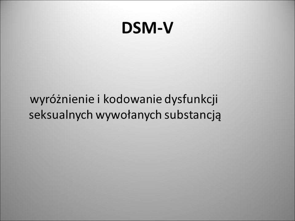 DSM-V wyróżnienie i kodowanie dysfunkcji seksualnych wywołanych substancją