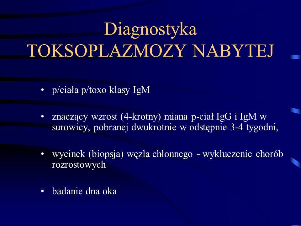 Diagnostyka TOKSOPLAZMOZY NABYTEJ p/ciała p/toxo klasy IgM znaczący wzrost (4-krotny) miana p-ciał IgG i IgM w surowicy, pobranej dwukrotnie w odstępnie 3-4 tygodni, wycinek (biopsja) węzła chłonnego - wykluczenie chorób rozrostowych badanie dna oka