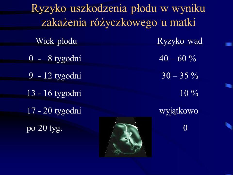 Ryzyko uszkodzenia płodu w wyniku zakażenia różyczkowego u matki Wiek płodu Ryzyko wad 0 - 8 tygodni 40 – 60 % 9 - 12 tygodni 30 – 35 % 13 - 16 tygodni 10 % 17 - 20 tygodni wyjątkowo po 20 tyg.