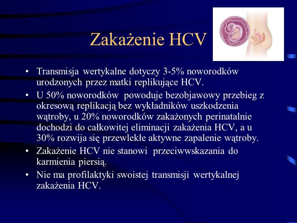 Zakażenie HCV Transmisja wertykalne dotyczy 3-5% noworodków urodzonych przez matki replikujące HCV.