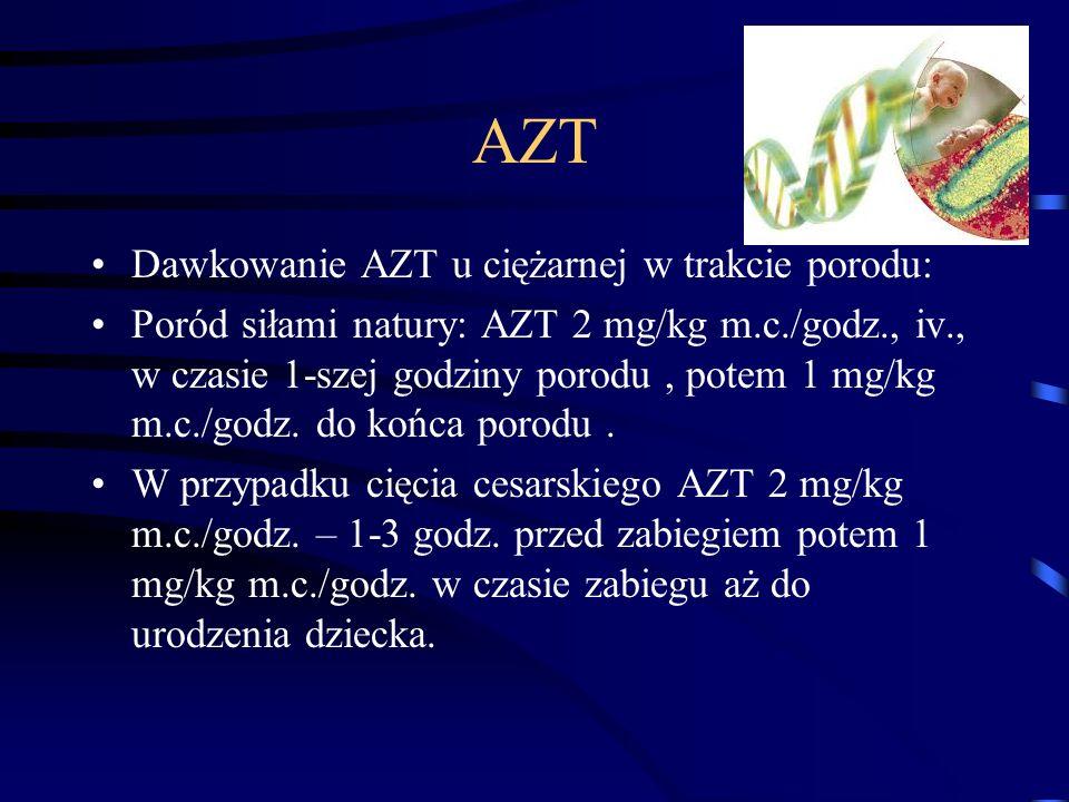 AZT Dawkowanie AZT u ciężarnej w trakcie porodu: Poród siłami natury: AZT 2 mg/kg m.c./godz., iv., w czasie 1-szej godziny porodu, potem 1 mg/kg m.c./godz.