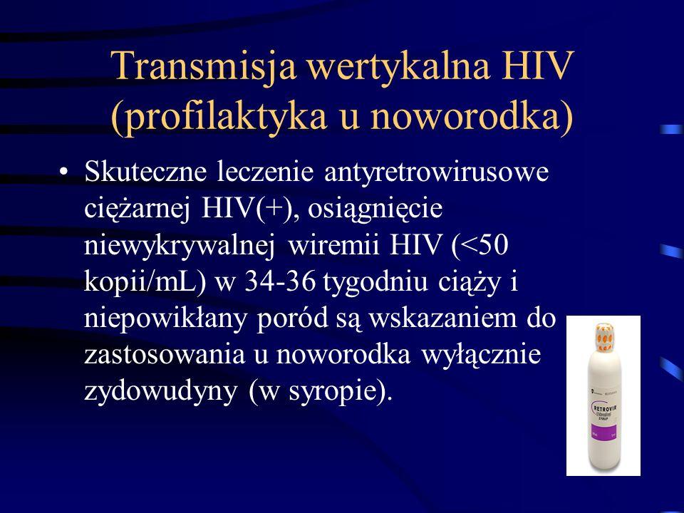 Transmisja wertykalna HIV (profilaktyka u noworodka) Skuteczne leczenie antyretrowirusowe ciężarnej HIV(+), osiągnięcie niewykrywalnej wiremii HIV (<50 kopii/mL) w 34-36 tygodniu ciąży i niepowikłany poród są wskazaniem do zastosowania u noworodka wyłącznie zydowudyny (w syropie).