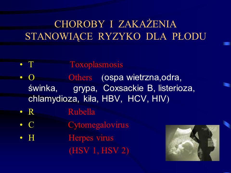 CHOROBY I ZAKAŻENIA STANOWIĄCE RYZYKO DLA PŁODU T Toxoplasmosis O Others ( ospa wietrzna,odra, świnka, grypa, Coxsackie B, listerioza, chlamydioza, kiła, HBV, HCV, HIV ) R Rubella C Cytomegalovirus H Herpes virus (HSV 1, HSV 2)