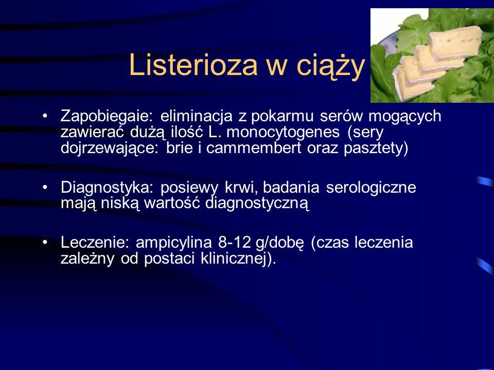 Listerioza w ciąży Zapobiegaie: eliminacja z pokarmu serów mogących zawierać dużą ilość L.