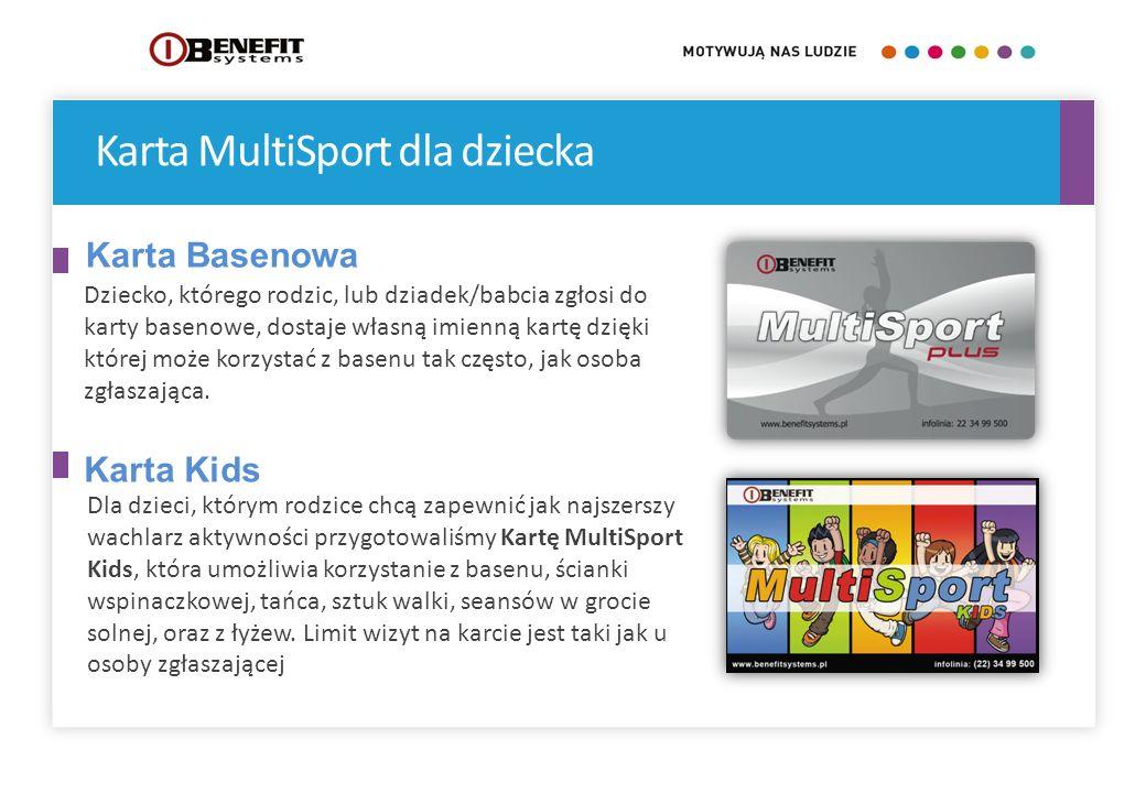 Karta MultiSport dla dziecka Dla dzieci, którym rodzice chcą zapewnić jak najszerszy wachlarz aktywności przygotowaliśmy Kartę MultiSport Kids, która
