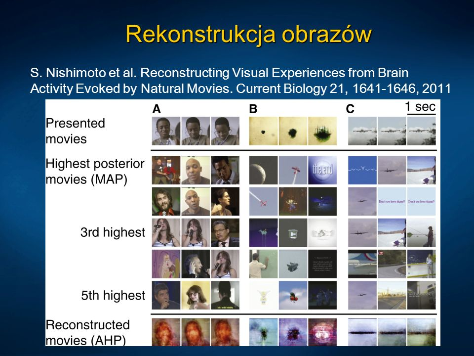 Rekonstrukcja obrazów S. Nishimoto et al. Reconstructing Visual Experiences from Brain Activity Evoked by Natural Movies. Current Biology 21, 1641-164