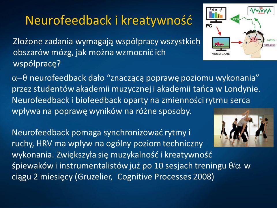 Neurofeedback i kreatywność Złożone zadania wymagają współpracy wszystkich obszarów mózg, jak można wzmocnić ich współpracę.