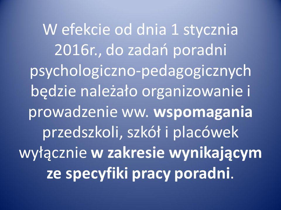 W efekcie od dnia 1 stycznia 2016r., do zadań poradni psychologiczno-pedagogicznych będzie należało organizowanie i prowadzenie ww. wspomagania przeds
