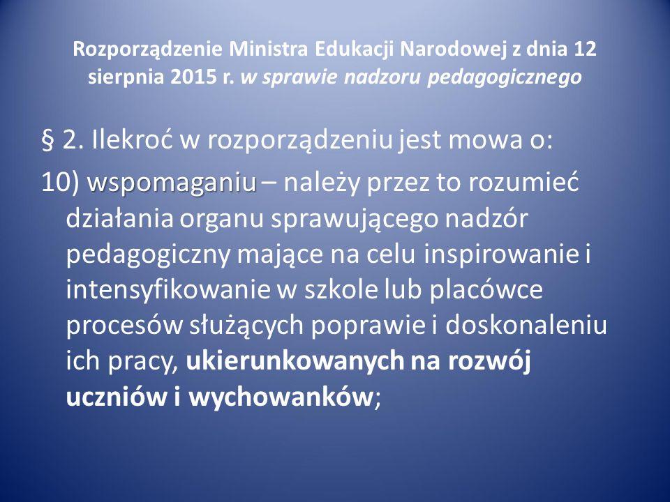 Rozporządzenie Ministra Edukacji Narodowej z dnia 12 sierpnia 2015 r. w sprawie nadzoru pedagogicznego § 2. Ilekroć w rozporządzeniu jest mowa o: wspo
