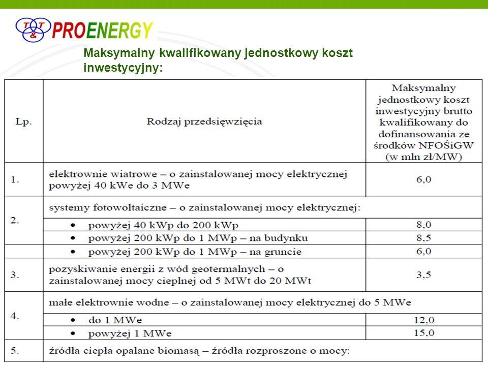 Maksymalny kwalifikowany jednostkowy koszt inwestycyjny: