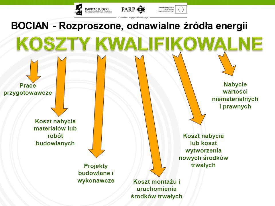 BOCIAN - Rozproszone, odnawialne źródła energii Prace przygotowawcze Koszt nabycia materiałów lub robót budowlanych Projekty budowlane i wykonawcze Koszt montażu i uruchomienia środków trwałych Koszt nabycia lub koszt wytworzenia nowych środków trwałych Nabycie wartości niematerialnych i prawnych