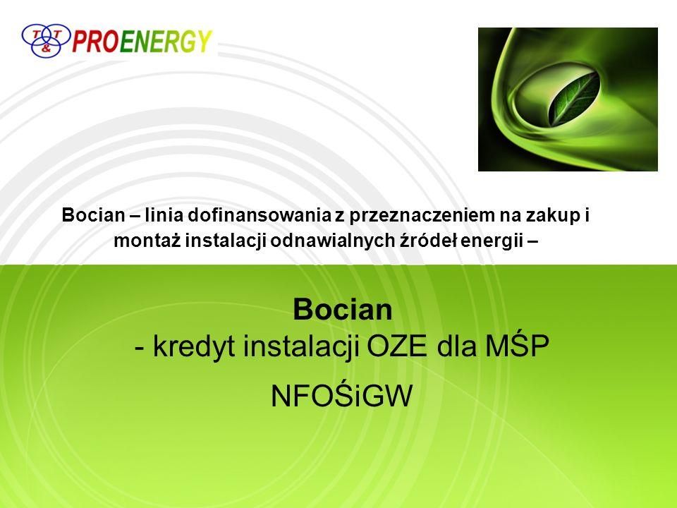 BOCIAN - Rozproszone, odnawialne źródła energii Ograniczenie lub uniknięcie emisji CO 2 poprzez zwiększenie produkcji energii z instalacji wykorzystujących odnawialne źródła energii
