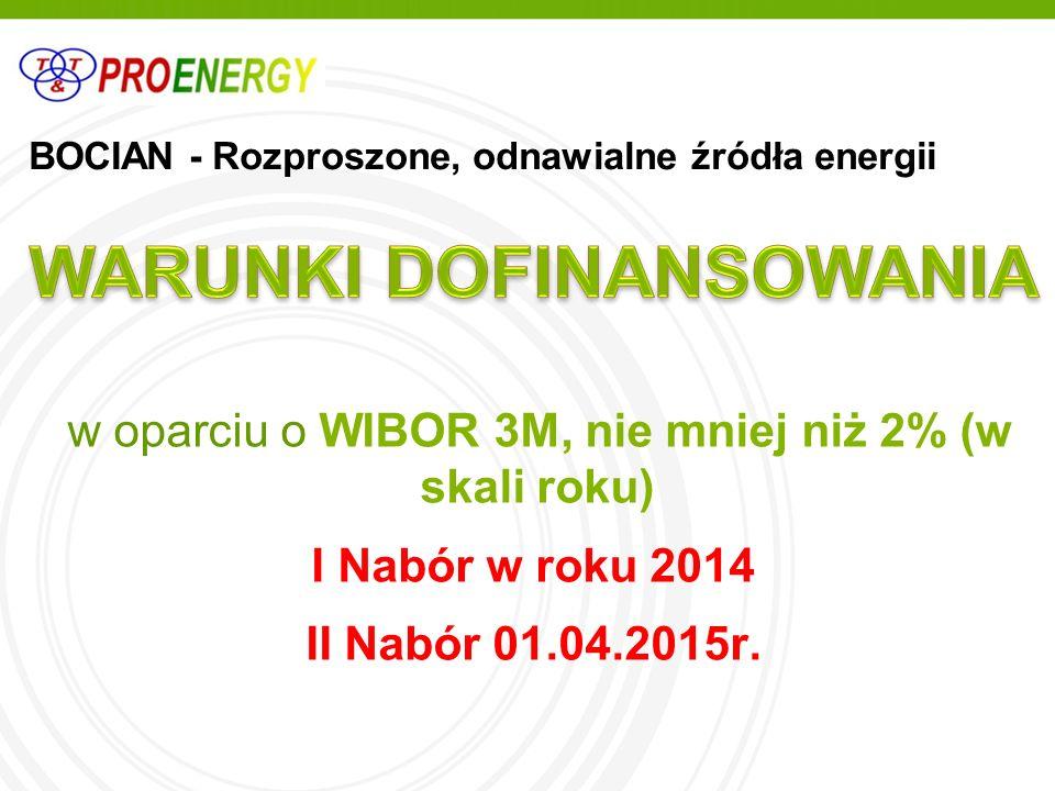 BOCIAN - Rozproszone, odnawialne źródła energii w oparciu o WIBOR 3M, nie mniej niż 2% (w skali roku) I Nabór w roku 2014 II Nabór 01.04.2015r.
