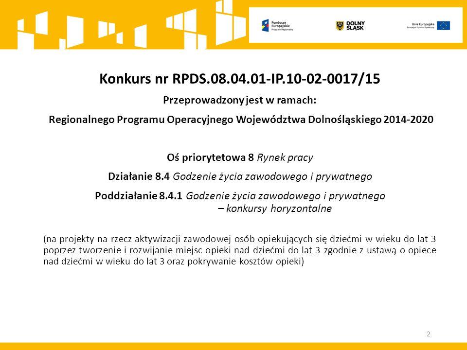 Konkurs nr RPDS.08.04.01-IP.10-02-0017/15 Przeprowadzony jest w ramach: Regionalnego Programu Operacyjnego Województwa Dolnośląskiego 2014-2020 Oś pri
