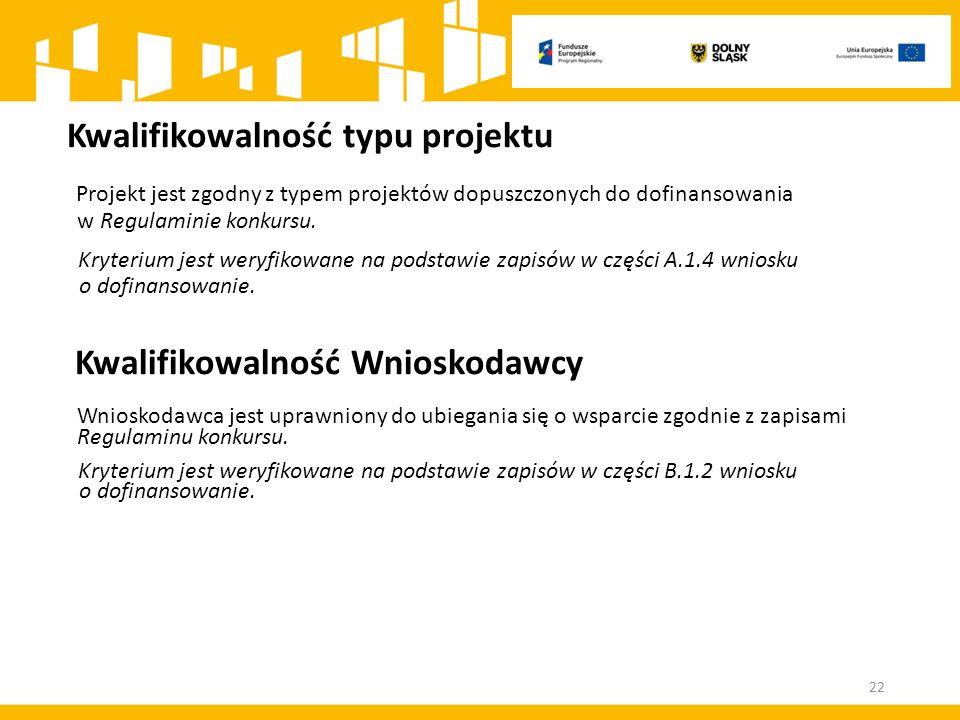 Kwalifikowalność typu projektu Projekt jest zgodny z typem projektów dopuszczonych do dofinansowania w Regulaminie konkursu.