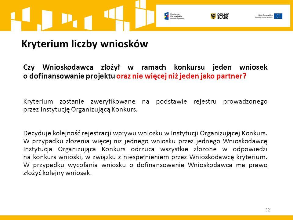 Kryterium liczby wniosków Czy Wnioskodawca złożył w ramach konkursu jeden wniosek o dofinansowanie projektu oraz nie więcej niż jeden jako partner.
