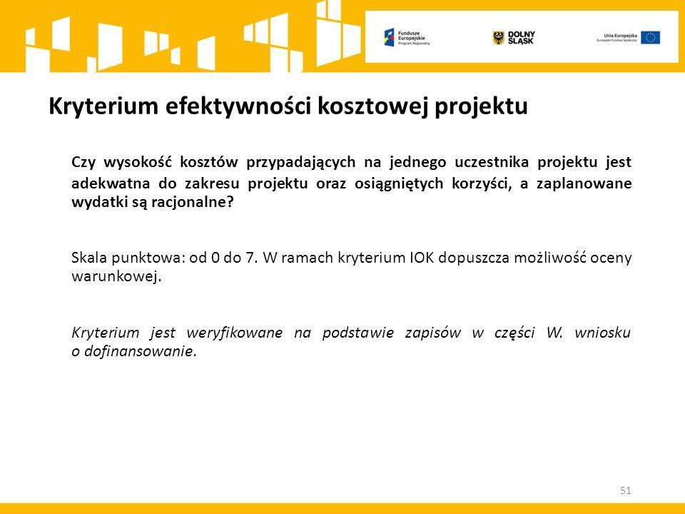 Kryterium efektywności kosztowej projektu Czy wysokość kosztów przypadających na jednego uczestnika projektu jest adekwatna do zakresu projektu oraz o