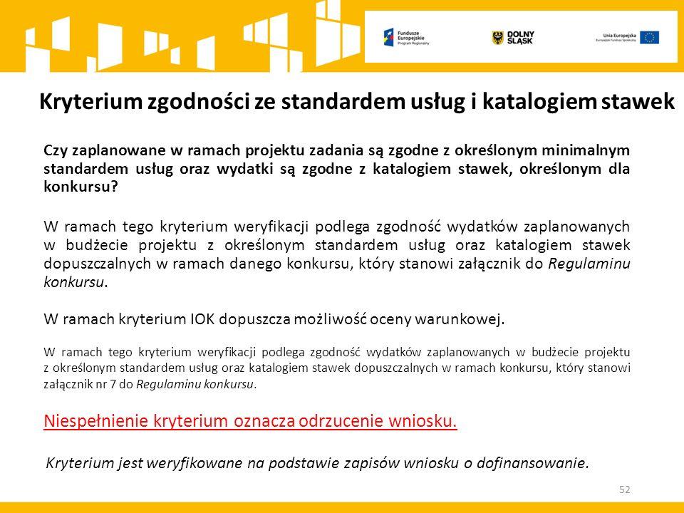 Kryterium zgodności ze standardem usług i katalogiem stawek Czy zaplanowane w ramach projektu zadania są zgodne z określonym minimalnym standardem usług oraz wydatki są zgodne z katalogiem stawek, określonym dla konkursu.