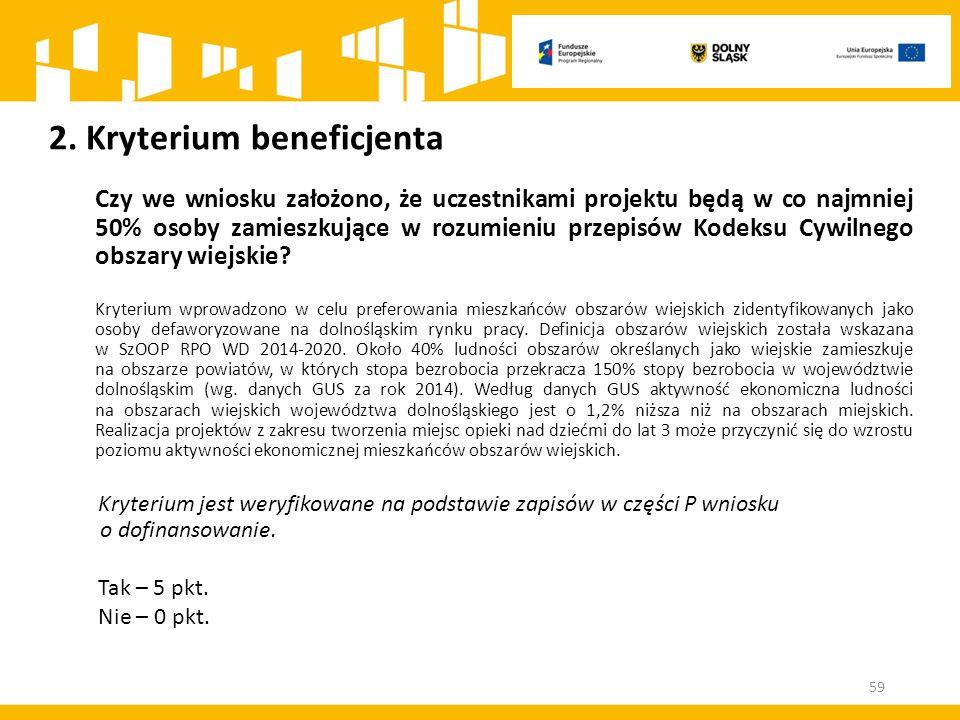 2. Kryterium beneficjenta Czy we wniosku założono, że uczestnikami projektu będą w co najmniej 50% osoby zamieszkujące w rozumieniu przepisów Kodeksu