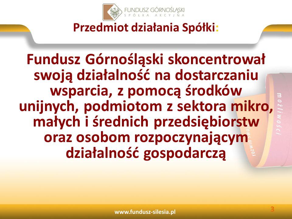 Działalność pożyczkowa Funduszu Pożyczki udzielane są: MŚP prowadzącym działalność gospodarczą na terenie woj.: śląskiego, małopolskiego i opolskiego; absolwentom szkoły wyższej, pomaturalnej i średniej rozpoczynającym działalność gospodarczą na terenie województwa śląskiego; osobom rozpoczynającą działalność gospodarczą na terenie województwa śląskiego.