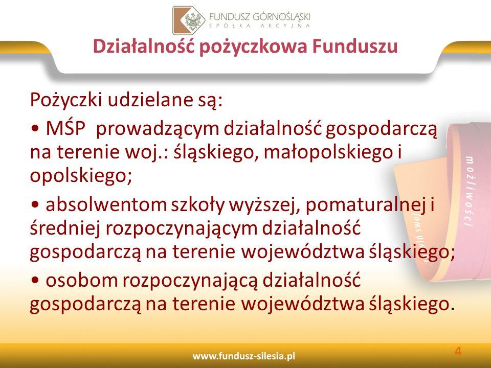 Kapitał Funduszu przeznaczony na działalność pożyczkową 84 246 524 zł pozyskane środki zewnętrzne 15 910 963 zł środki własne 100 157 487zł 5