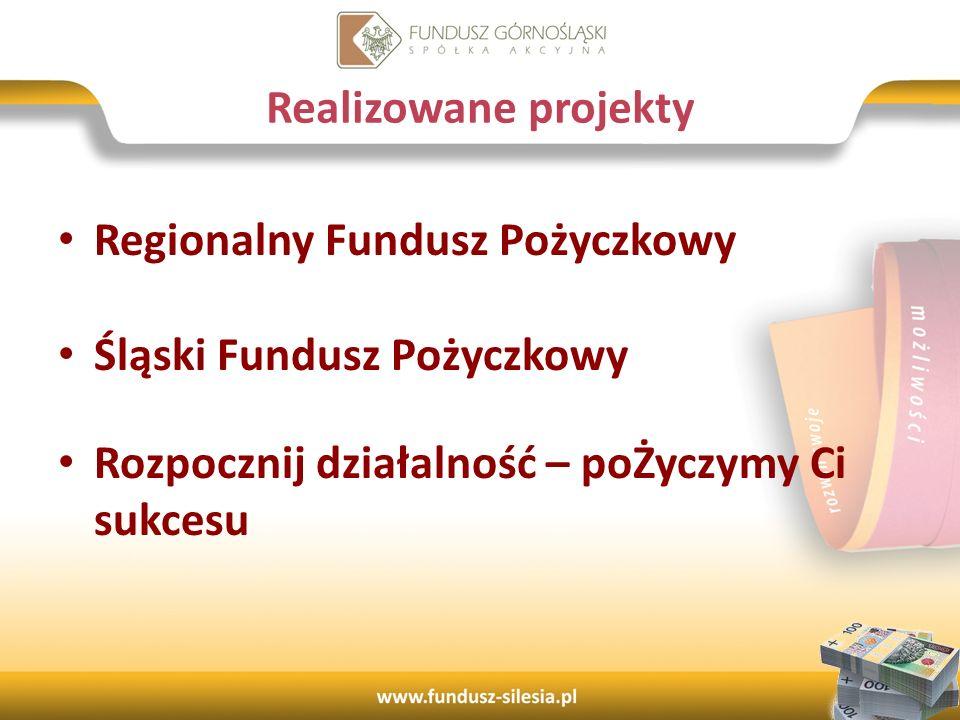 Regionalny Fundusz Pożyczkowy Śląski Fundusz Pożyczkowy Rozpocznij działalność – poŻyczymy Ci sukcesu 9 Realizowane projekty