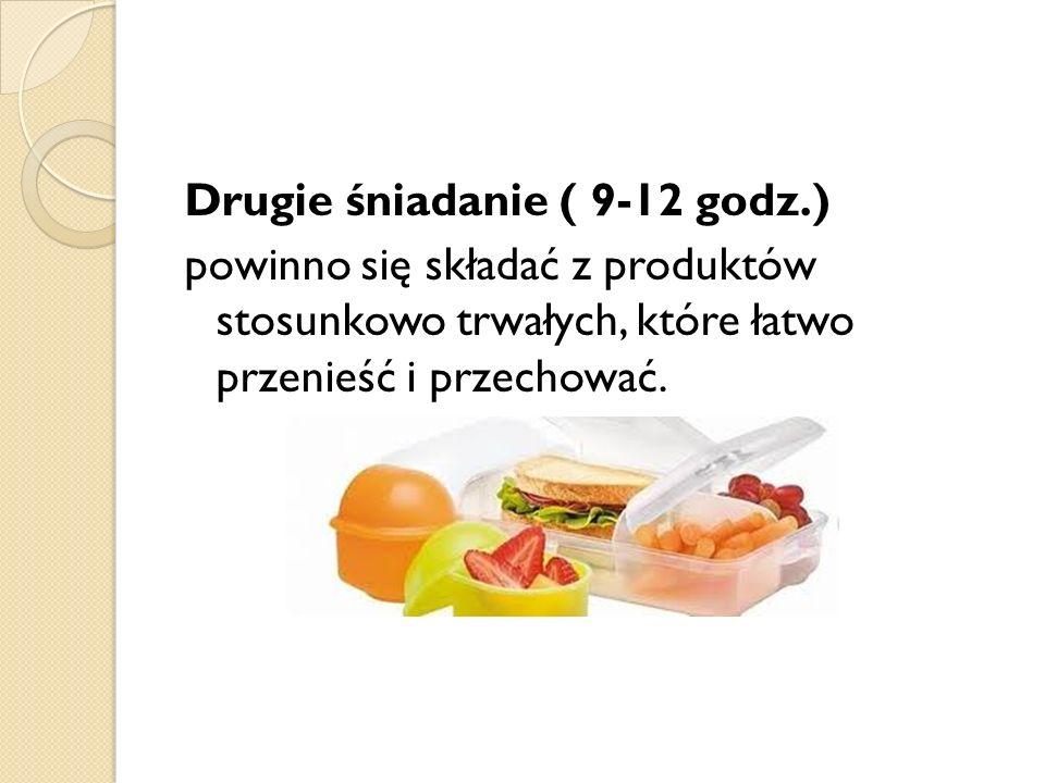 Drugie śniadanie ( 9-12 godz.) powinno się składać z produktów stosunkowo trwałych, które łatwo przenieść i przechować.