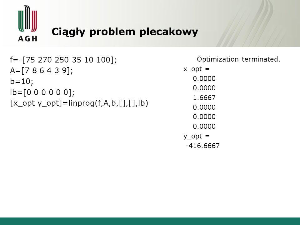 Ciągły problem plecakowy f=-[75 270 250 35 10 100]; A=[7 8 6 4 3 9]; b=10; lb=[0 0 0 0 0 0]; [x_opt y_opt]=linprog(f,A,b,[],[],lb) Optimization terminated.