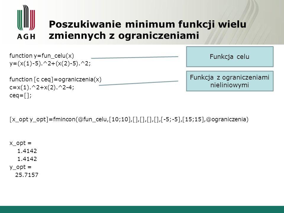 Poszukiwanie minimum funkcji wielu zmiennych z ograniczeniami function y=fun_celu(x) y=(x(1)-5).^2+(x(2)-5).^2; function [c ceq]=ograniczenia(x) c=x(1).^2+x(2).^2-4; ceq=[]; [x_opt y_opt]=fmincon(@fun_celu,[10;10],[],[],[],[],[-5;-5],[15;15],@ograniczenia) x_opt = 1.4142 y_opt = 25.7157 Funkcja celu Funkcja z ograniczeniami nieliniowymi