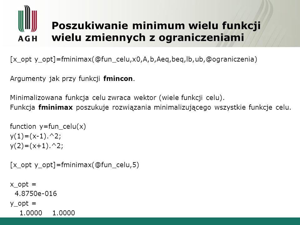 Poszukiwanie minimum wielu funkcji wielu zmiennych z ograniczeniami [x_opt y_opt]=fminimax(@fun_celu,x0,A,b,Aeq,beq,lb,ub,@ograniczenia) Argumenty jak przy funkcji fmincon.