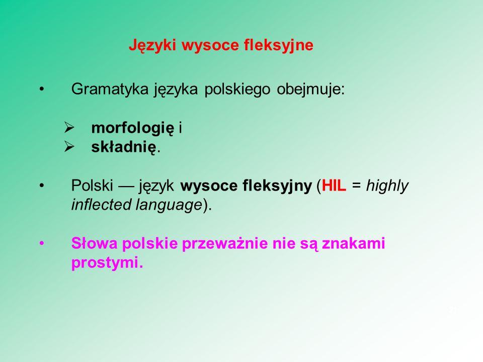 Gramatyka języka polskiego obejmuje:  morfologię i  składnię. Polski — język wysoce fleksyjny (HIL = highly inflected language). Słowa polskie przew