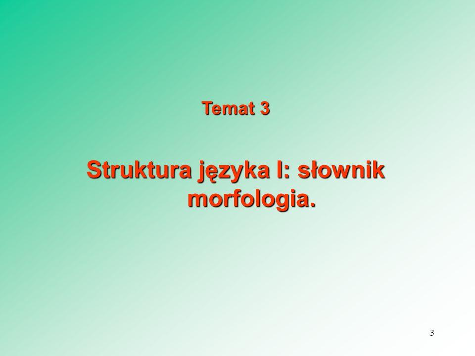 Temat 3 Struktura języka I: słownik morfologia. 3