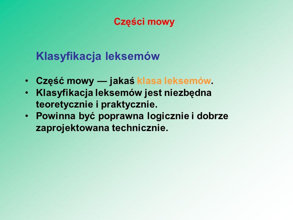 Klasyfikacja leksemów Część mowy — jakaś klasa leksemów. Klasyfikacja leksemów jest niezbędna teoretycznie i praktycznie. Powinna być poprawna logiczn