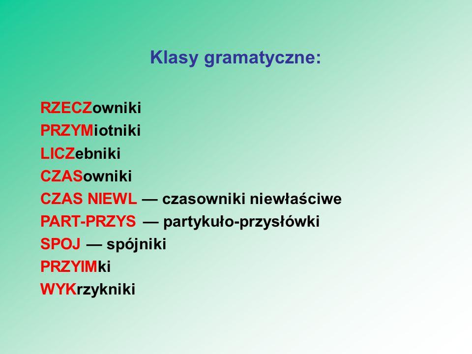 Klasy gramatyczne: RZECZowniki PRZYMiotniki LICZebniki CZASowniki CZAS NIEWL — czasowniki niewłaściwe PART-PRZYS — partykuło-przysłówki SPOJ — spójnik