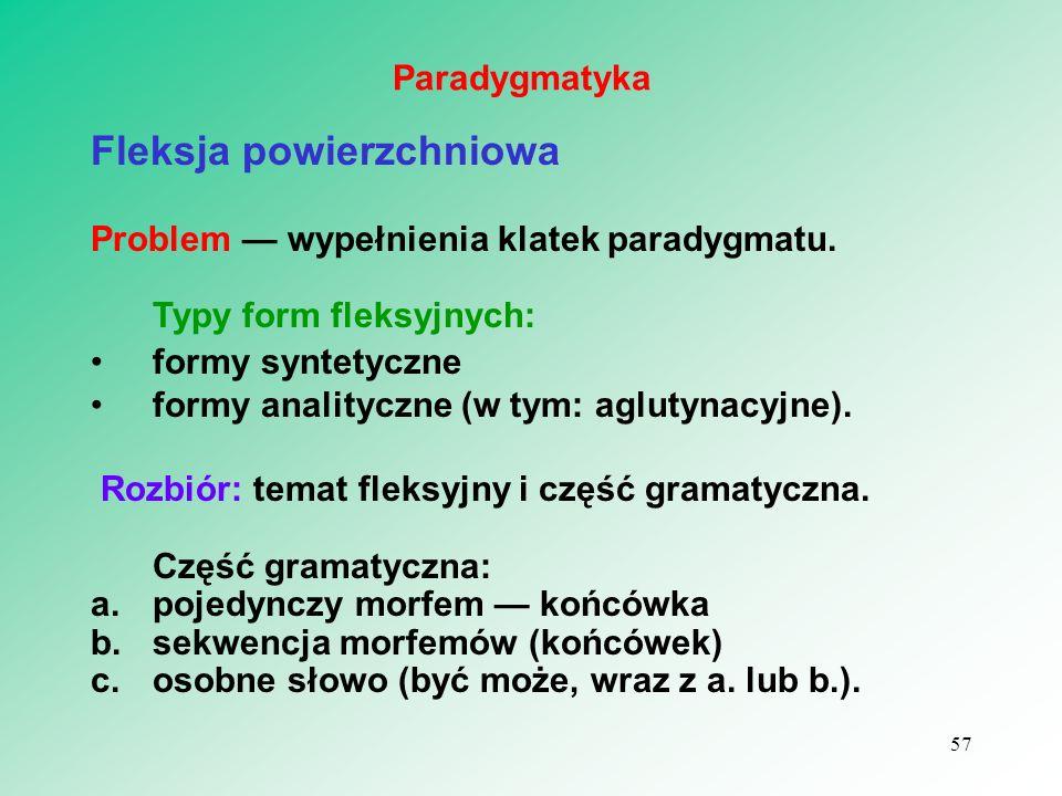 Fleksja powierzchniowa Problem — wypełnienia klatek paradygmatu. Typy form fleksyjnych: formy syntetyczne formy analityczne (w tym: aglutynacyjne). Ro