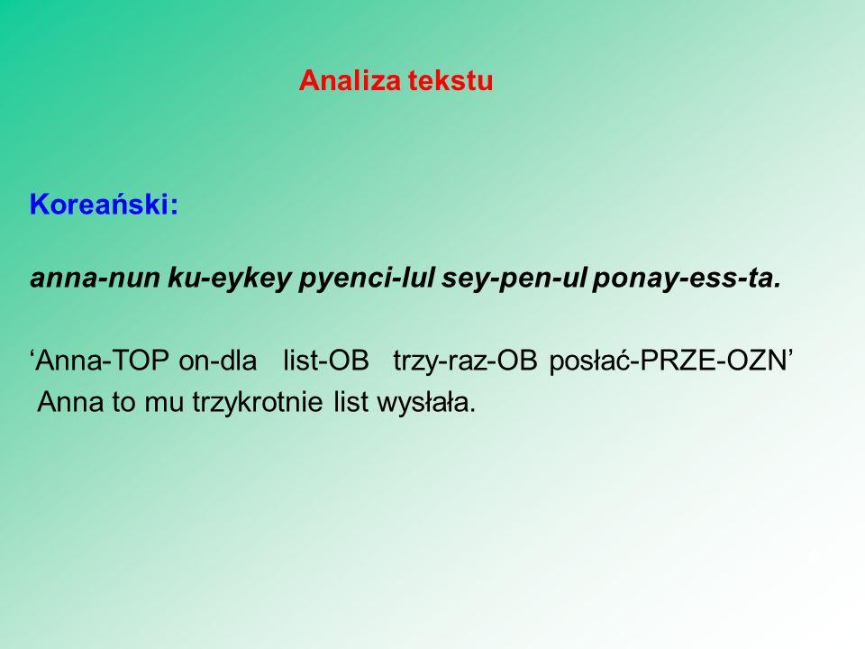 Koreański: anna-nun ku-eykey pyenci-lul sey-pen-ul ponay-ess-ta. 'Anna-TOP on-dla list-OB trzy-raz-OB posłać-PRZE-OZN' Anna to mu trzykrotnie list wys
