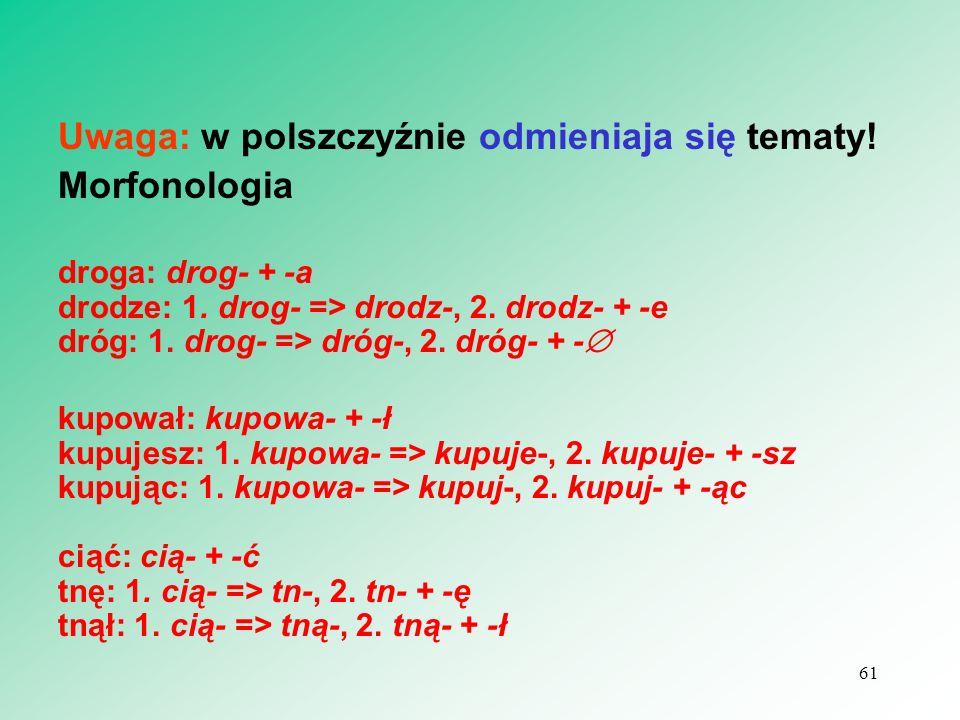 Uwaga: w polszczyźnie odmieniaja się tematy! Morfonologia droga: drog- + -a drodze: 1. drog- => drodz-, 2. drodz- + -e dróg: 1. drog- => dróg-, 2. dró
