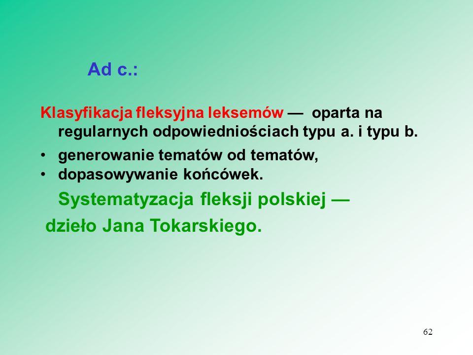 Ad c.: Klasyfikacja fleksyjna leksemów — oparta na regularnych odpowiedniościach typu a. i typu b. generowanie tematów od tematów, dopasowywanie końcó