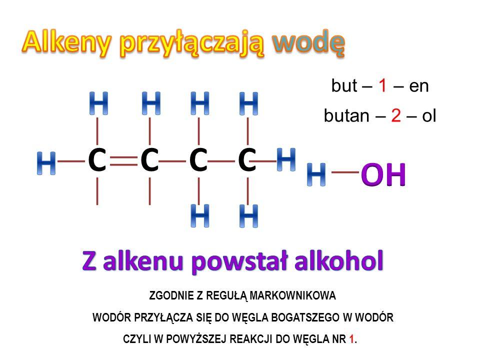 CCC propen 2 – chloro propan Zgodnie z regułą Markownikowa atom wodoru przyłącza się do węgla bogatszego w wodór
