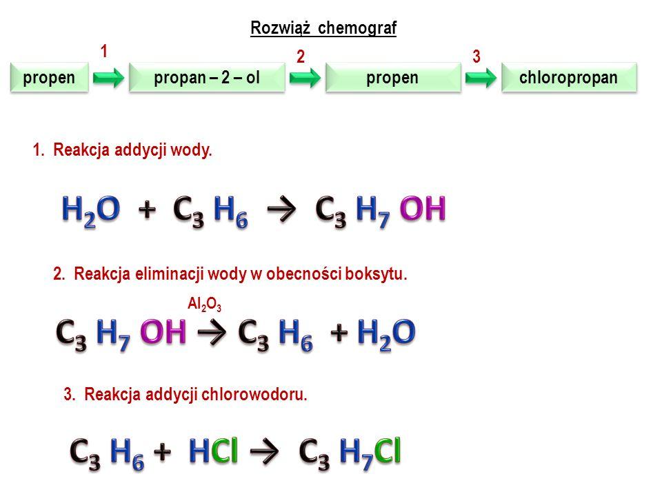 Rozwiąż chemograf propen propen dichloro propan dichloro propan propen propen chloro propan chloro propan 1 23 1.