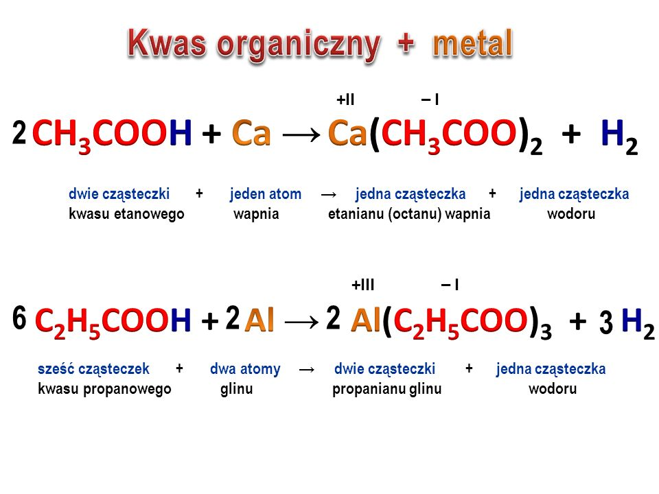 Kwasy organiczne reagują z tymi samymi związkami co kwasy nieorganiczne metalem tlenkiem metalu wodorotlenkiem i solą
