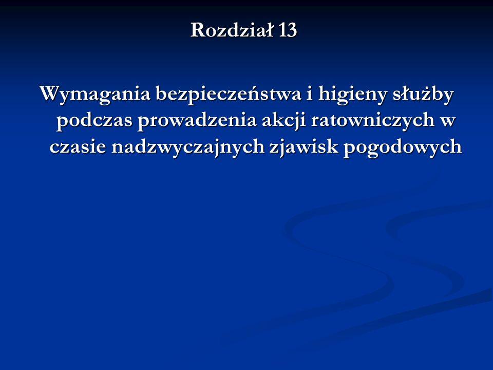 Rozdział 13 Wymagania bezpieczeństwa i higieny służby podczas prowadzenia akcji ratowniczych w czasie nadzwyczajnych zjawisk pogodowych