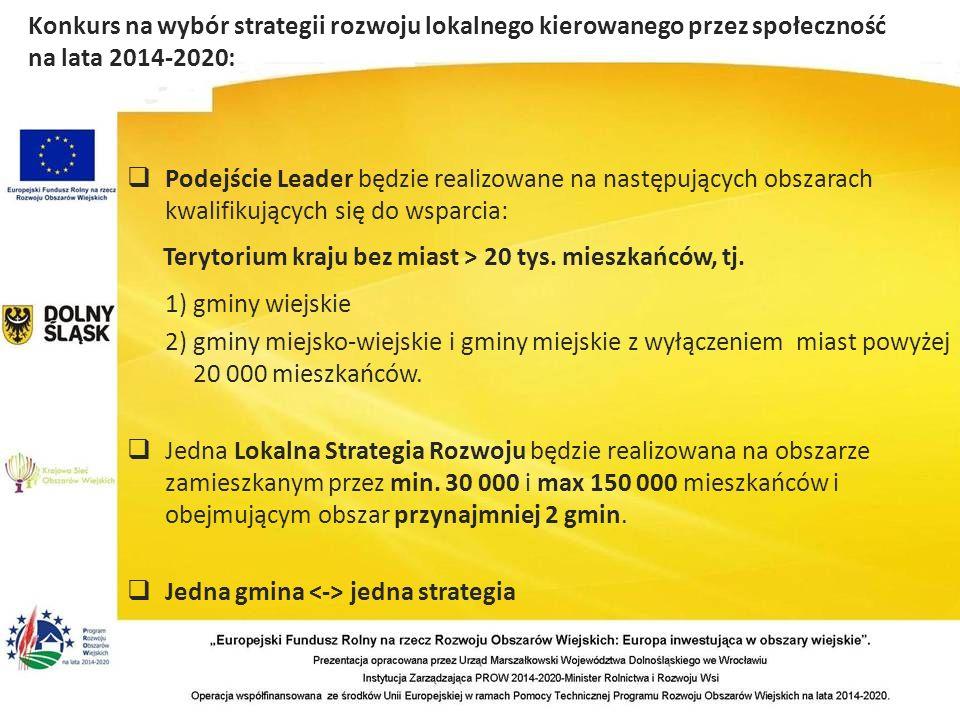  Podejście Leader będzie realizowane na następujących obszarach kwalifikujących się do wsparcia: Terytorium kraju bez miast > 20 tys.