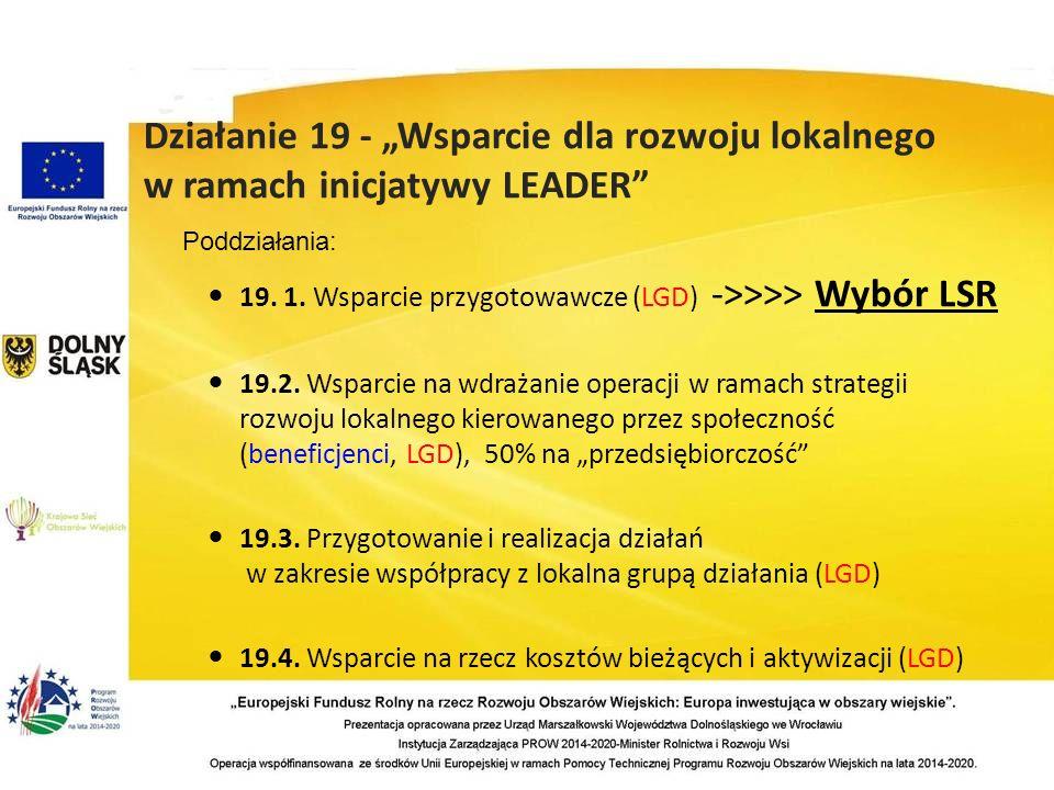 19. 1. Wsparcie przygotowawcze (LGD) ->>>> Wybór LSR 19.2.